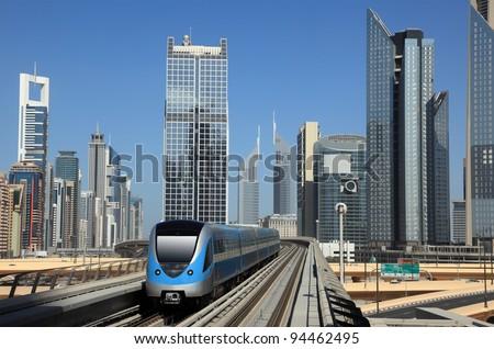 Metro train downtown in Dubai, United Arab Emirates