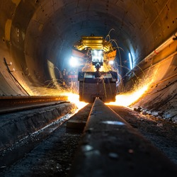 Metro tunnel construction project - flash butt welding works