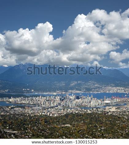 Metro Vancouver with Coast Mountains, British Columbia, Canada