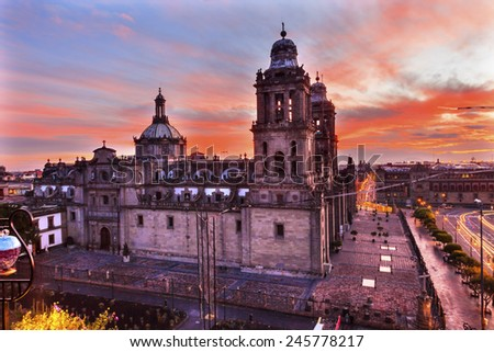 Metropolitan Cathedral and President's Palace in Zocalo, Center of Mexico City Mexico Sunrise