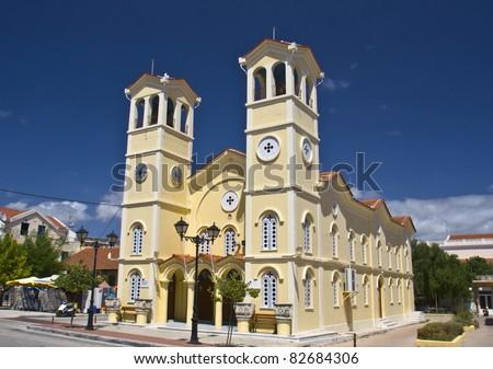 Metropolitan church of 'Pantokrator' at Lixouri city of Kefalonia island in Greece - stock photo
