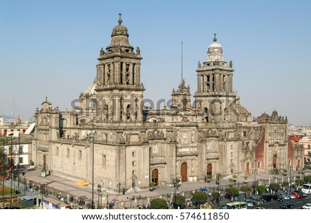 Metropolitana cathedral on Zocalo square at Mexico City, Mexico #574611850