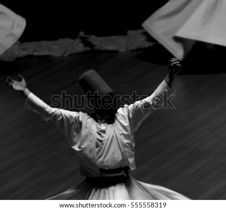 Mevlana dervishes dancing in the museum, konya #555558319