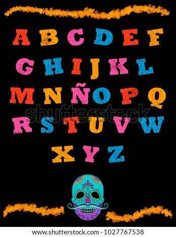 Mexican alphabet in black background