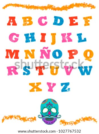 Shutterstock Mexican alphabet in white background