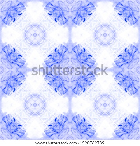 Mexican Artisan Design. Ogee Delicate Print. Seamless Blue Modern Wall Decoration. Mexican Artisan Design. Retro Ikat Ornament. Folk Embroidery Border. Dyed Batik Style.