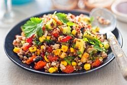 Mexican black beans, avocado, corn, tomato, rice & quinoa salad with chilli dressing