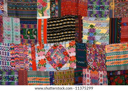 Mexican Blankets For Sale In Market Near Chichen Itza Stock Photo