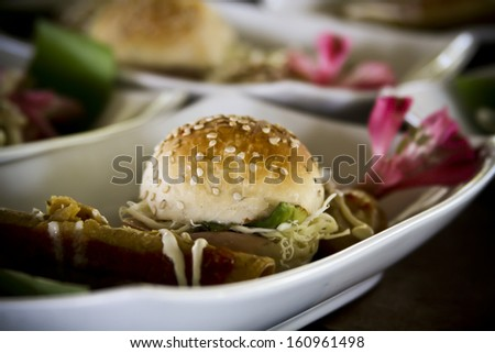 Mexican bread sandwich Cemita Poblana and spicy snacks Stock fotó ©
