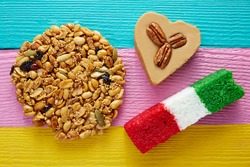 Mexican candy sweets Palanqueta cajeta heart and coconut flag