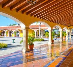 Mexican, caribbean hacienda, ranch plaza. Decorative traditional design.