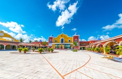 Mexican, caribbean hacienda, ranch plaza. Decorative traditional design. Theatrical stage.