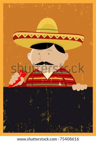 Mexican Chef Cook Menu/ Illustration of a Mexican chef cook holding blackboard with grunge texture