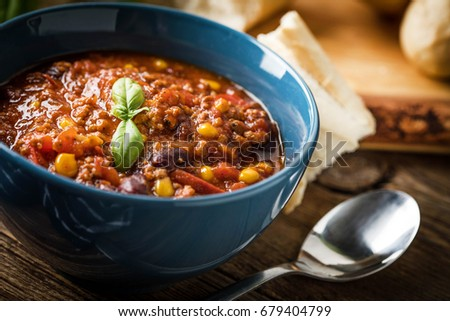 Shutterstock Mexican chili con carne in bowl. Selective focus.