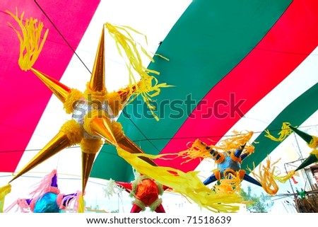 Mexican colorful  pinata in mexico with  flag background