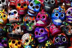 Mexican colorful skulls. Mexican / hispanic ceramic pottery Day of the Dead (Dia de los Muertos) skulls.