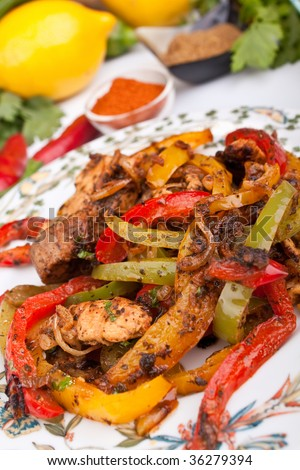 mexican dish with chicken, beef and vegetables - stock photo