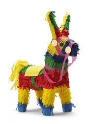 Mexican Donkey Pinata Isolated on White Background.