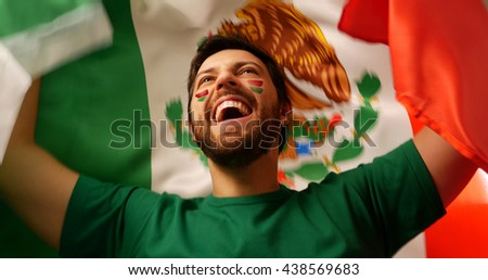 Mexican fan celebrates holding the flag of Mexico #438569683