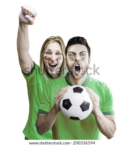 Mexican fans couple celebrate on white background #200336594