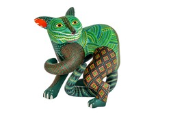 Mexican fantasy figures called Alebrijes Elaborate painted weird sculptures made in Oaxaca, Mexico