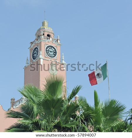 Mexican flag and palm tree in front of the palacio municipal in Merida, Mexico