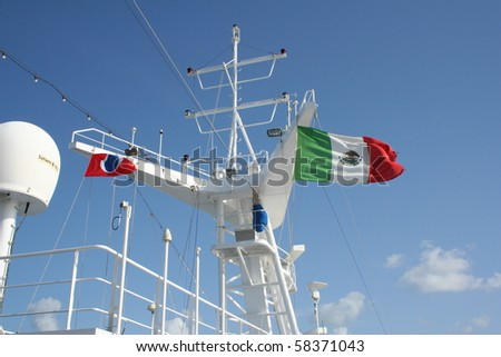 Mexican flag flying over a ship