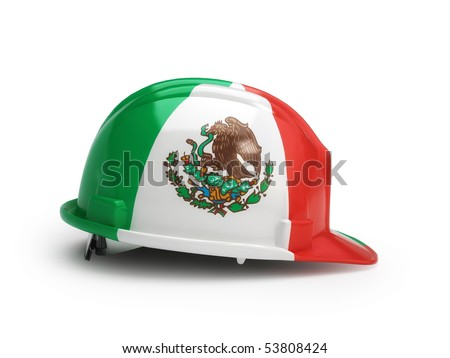 Mexican flag on construction helmet