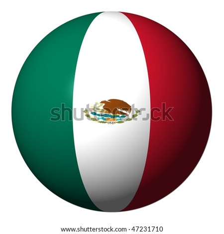 Mexican flag sphere isolated on white illustration