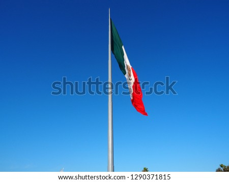 Mexican flag waving in the sky #1290371815