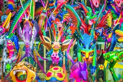 Mexican folk art sculptures and souvenirs for sale in Mexico City, Mexico.