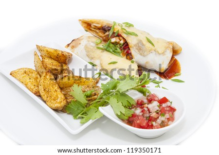 Mexican food from the kitchen on a white background