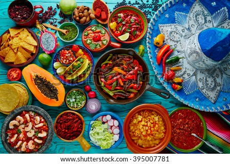 mexican food mix colorful...
