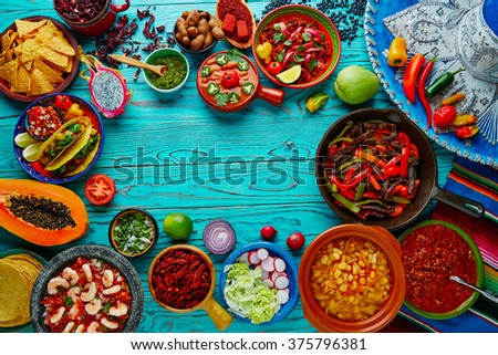 Shutterstock Mexican food mix copyspace frame colorful background Mexico