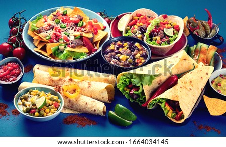 Mexican food mix on blue background.  Foto stock ©