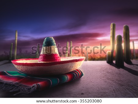 "Mexican hat ""sombrero"" on a ""serape"" in a mexican desert at night #355203080"