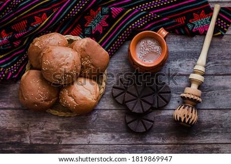 mexican Hot Chocolate and Oaxaca Bread in Oaxaca Mexico Foto stock ©