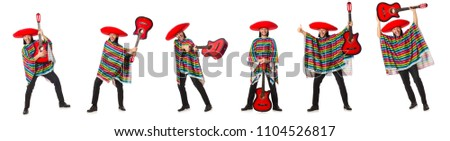 Mexican in vivid poncho holding guitar isolated on white - Shutterstock ID 1104526817