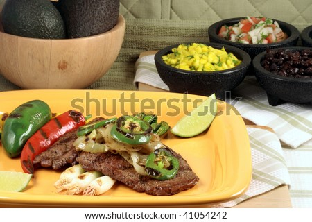 mexican Juicy beef grilled to perfection thick and flavorful cut with hot peppers