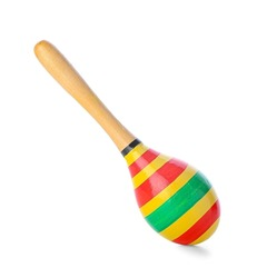 Mexican maraca on white background