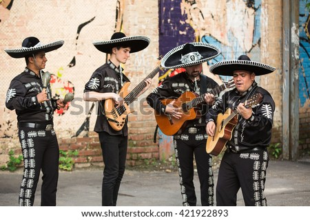 Mexican musicians on the streets. Latin American musicians. Spanish musicians.