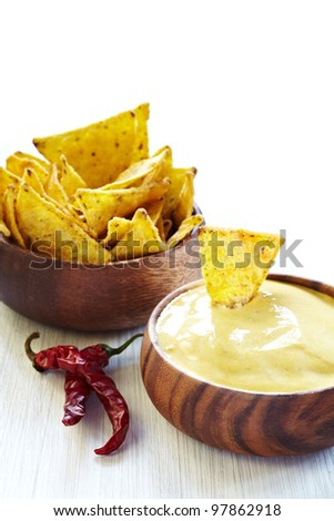 Mexican nachos, Cheese Sauce and Chili pepper