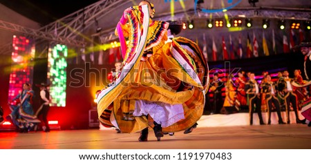 Mexican National Costume  dancers  on show. Traditional foclore