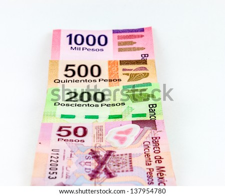 Mexican Pesos. An image showing the 1000, 500, 200 and 50 Mexican currency bills.