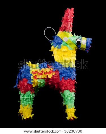 mexican pinata on a black background