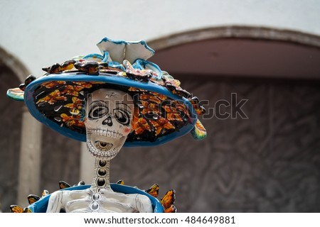 Mexican sculpture of a skeleton dressed as a high class lady. Part of the traditional \