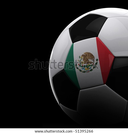 Mexican soccer ball on black background - stock photo