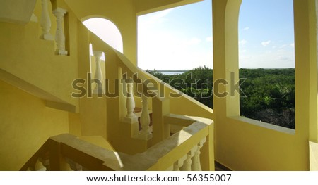 mexican style stairwell in the yucatan peninsula