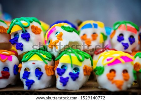 Mexican sugar skull candy, calaveras, traditionally used for dias de los muertos, halloween at the market of Merida, Mexico #1529140772