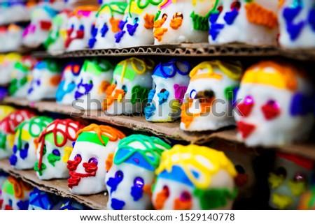 Mexican sugar skull candy, calaveras, traditionally used for dias de los muertos, halloween at the market of Merida, Mexico #1529140778